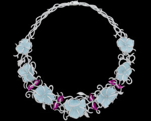 White Gold Necklace with Diamonds, Aquamarines and Garnets