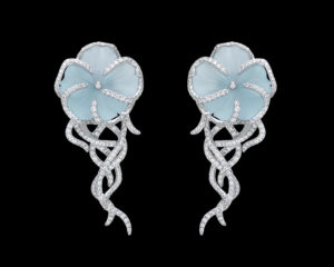 White Gold Earrings with Diamonds and Aquamarines